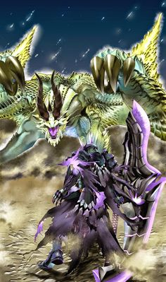 A Shagaru Magala fighting a Gore Magala armor-clad Hunter, from Monster Hunter.