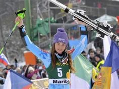 Tina Maze of Slovenia celebrates after winning the World Cup Women's Slalom race in Maribor, January 27, 2013. REUTERS-Srdjan Zivulovic