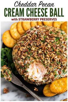 A sweet and savory Cream Cheese Ball with Cheddar, Strawberry Preserves, and Pecans. This easy twist on a classic cheese ball recipe is the BEST cheese ball you'll ever taste! A perfect appetizer for Thanksgiving, Christmas, and football games. Cheddar Cheese Recipes, Cheese Ball Recipes, Yummy Appetizers, Appetizer Recipes, Party Appetizers, Cream Cheese Ball, Strawberry Preserves, Pecan Recipes, Cooking Recipes