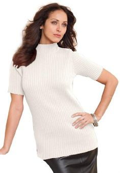 Jessica London Plus Size Mockneck Sweater In Ribbed Cotton $19.99