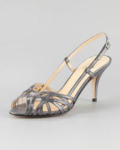 Conservative fancy shoe! shari metallic lizard-print sandal by kate spade new york at Neiman Marcus.