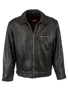 Vintage Radio Vintage Aviator Jacket - L, Regular Fit, size L. Colour Black and made from 100% Cowhide Leather with Black Lining and and Front Zip fastening.