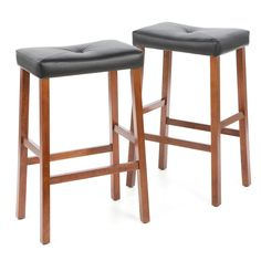 Set of 2 - Upholstered Faux Leather Saddle Seat Barstool in Cherry