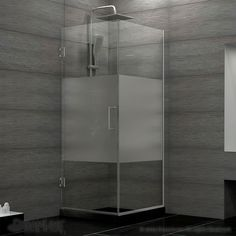 Unidoor Plus 30-3/8-inch x 30-inch x 72-inch Hinged Shower Enclosure with Half Frosted Glass in Brushed Nickel