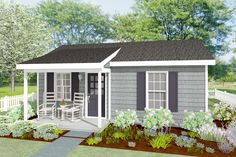 400 Square Foot One Bedroom Cottage - 560009TCD | Architectural Designs - House Plans One Bedroom House Plans, Guest House Plans, Small Cottage House Plans, Small Cottage Homes, Small Cottages, Ranch House Plans, Small House Plans, House Floor Plans, Tiny Homes