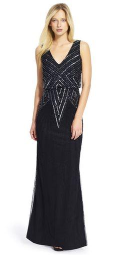 Adrianna Papell   V-Neck Beaded Blouson Gown