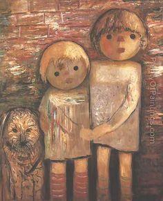 Two Children with a Dog by Tadeusz Makowski (1882-1932), Polish (plentyofpaintings)