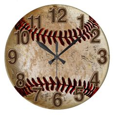 Cool Stone Look Vintage Baseball Clock for Him Wallclocks (Cool Bedrooms For Men)