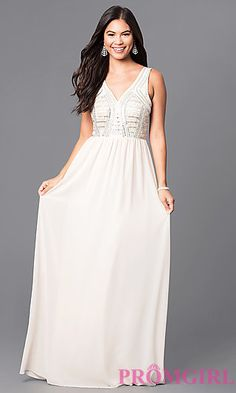 c56d3f77392d V-Neck Long Sleeveless Prom Dress with Beaded Bodice. Shop long formal  dresses and formal evening ...