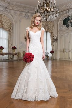 Style 8758 Alencon lace fit and flare dress emphasized by a #sweetheart neckline @jabridal