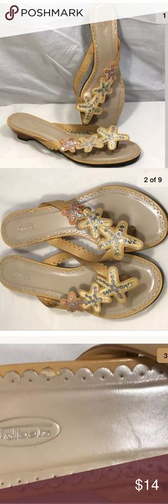 Talbots Yellow Starfish Sequins Slip On Sandals 9 Talbots Yellow Starfish Sequins Slip On Thongs Sandals Flip Flops Heels Shoes 9. Used condition.  There is some wear to the inside sole lining.  Please see pictures for details. Talbots Shoes Sandals