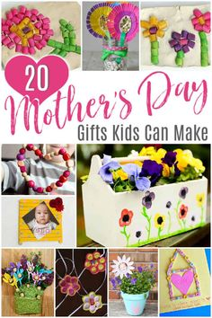 20 Mother's Day Gifts Kids Can Make 20 Mothers Day Gifts Kids Can Make The best gifts are handmade with love! Here are the sweetest Mothers Day gifts kids can make. All these mother's day craft ideas are so easy to make. Cute Mothers Day Gifts, Homemade Mothers Day Gifts, Mothers Day Crafts For Kids, Fathers Day Crafts, Homemade Gifts, Mother Gifts, Diy Gifts, Gifts For Kids, Kids Crafts
