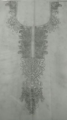 Hand Embroidery Projects, Embroidery Neck Designs, Ribbon Embroidery, Beaded Embroidery, Embroidery Patterns, Embroidery Dress, Paper Design, Fabric Design, Persian Pattern