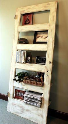 repurposed into bookshelves   old doors repurposed into bookshelves!