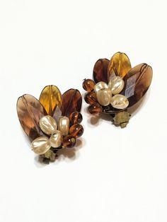 Vintage Leaf and Pearl Earrings Rootbeer  by GracesVintageGarden