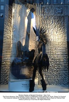 Bergdorf's window display with wig styled by our hairstylist Ayumi