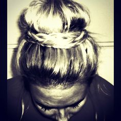 Fancy sock bun hair braid