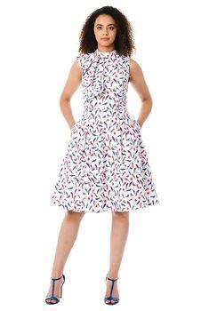 f7432b45f I <3 this Ruffle front parrot print poplin dress from eShakti Plus Size  Going