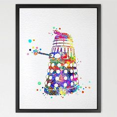$19.00  - Dignovel Studios 8X10 Dalek from Dr Who Inspired Watercolor Art Print Wall Art Hanging Home Decor Nursery decor Kids N165 * You can find out more details at the link of the image. (This is an affiliate link) #WallStickersMurals