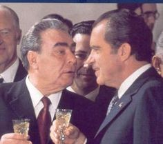 Soviet President Leonoid Brezhnev & US President Richard Nixon signed the Strategic Arms Limitations Talks Treaty on May 27,1972 in Moscow.