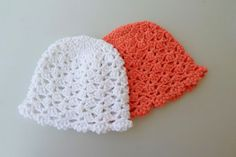 Baby girl hat, Twin girls hat, Twin hat. Organic cotton, crochet newborn hat, coral, white, eco friendly.