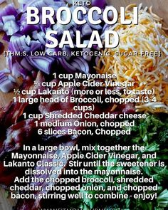 By popular demand....the recipe for my Keto Broccoli Salad! Ya'll it's so good - just make sure that you  mix up the dressing FIRST and stir it well until the Lakanto sweetener is dissolved completely. Other than that it's one of the easiest/most keto friendly recipes you'll make today! 12 Servings/Recipe  195 Calories  19g Fat  1g Net Carbs (2g Total Carbs - 1g Fiber)  4g Protein #60daysketo #trimhealthystrong #jymarmy