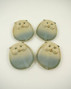 Four Figural Ceramic Owl Dishes or Plates  UCTCI by bitofbutter, $30.00 Ceramic Owl, Neutral, Butter, Faces, Japan, Ceramics, Dishes, Brown, Hall Pottery