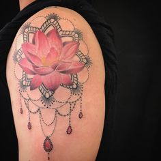 Realistic Lotus mandala tattoo on a shoulder with some beads. #lotus #mandala #tattoo #beads