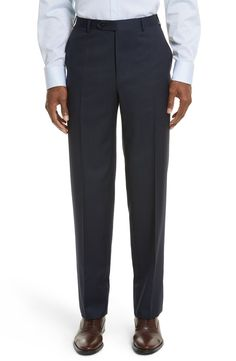 Canali Flat Front Stripe Wool Trousers Midnight Blue