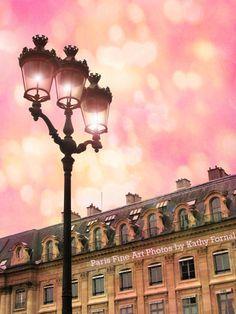 """Paris Photography - Dreamy Paris Street Lamps- Surreal Pink Paris Street Lanterns - Paris Fine Art Photograph 8"""" x 12"""""""