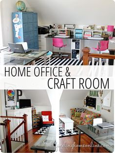 Craft Room and Home Office Decorating - Ideas, pictures and links for creating a vintage styled home office with work space, craft space and a homework station.