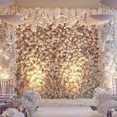 romantic rose wall wedding backdrop ideas