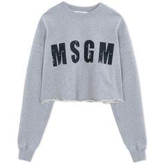 Msgm Sweatshirt ($125) ❤ liked on Polyvore featuring tops, hoodies, sweatshirts, light grey, long sleeve tops, msgm, long sleeve cotton tops, long sleeve sweatshirt and logo sweatshirts