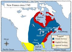 This map shows how the colonies of the New World were divided between France, England, and Spain before the French and Indian War. Canadian History, Texas History, World History, American History, Family History, Ontario Curriculum, North America Map, Historical Maps, Learn French