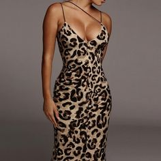 Sleeveless Sexy Party Midi Leopard Dress for Women