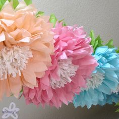 OOPSY DAISY. 5 Giant Hanging tissue Paper Flowers oversize by whimsypie, $33.75