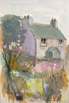 Original Mixed media Painting 'Old Cottage'' Signed Annabel Burton