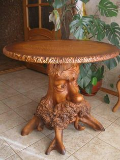 New Wooden Furniture Carving Ideas Tree Carving, Wood Carving Art, Wood Carvings, Unique Furniture, Wooden Furniture, Art Sculpture En Bois, Muebles Estilo Art Nouveau, Diy Holz, Wood Creations