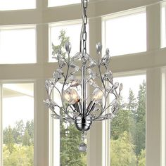 Marie 4-light Chrome 13-inch Crystal Chandelier | Overstock.com Shopping - The Best Deals on Chandeliers & Pendants