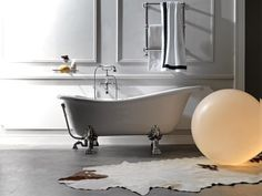 Retro 1051 Glass-Resin Bathtub, White with Metal Feet, by WS Bath Collections. The Retro 1051 White is from the Retro Collection of Classical Italian Made Ceramic Bathroom Sinks. Modern Bathroom Sink, Modern Bathtub, Natural Bathroom, Bathroom Fixtures, Small Bathroom, Bathrooms, Jacuzzi Bathtub, Luxury Bathtub, Clawfoot Bathtub