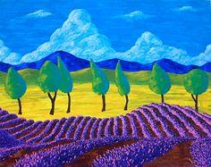 Лаванда в Провансе (ОРИГИНАЛ акриловой живописи) 40,6 см х 50,8 см Майком Краус
