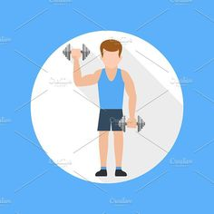 Man doing exercises with barbell. Athlete