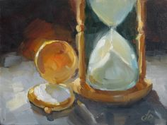 ANTIQUE POCKET WATCH, HOURGLASS, TOM BROWN STILL LIFE ORIGINAL OIL PAINTING, painting by artist Tom Brown