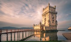 "Belém Tower at Sunrise - 41'' long exposure of the ""Torre de Belém"" in Lisbon Portugal"