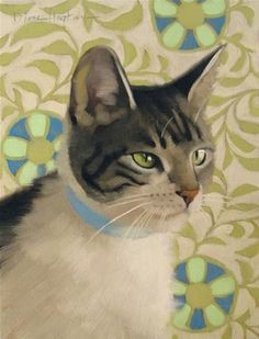 """Daily Paintworks - """"Nancy a cat painting"""" by Diane Hoeptner"""