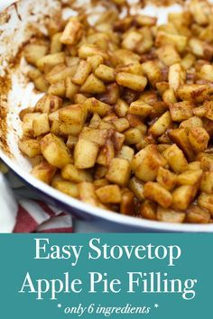 This Homemade Stovetop Apple Pie Filling is quick and easy. You can add your favorite seasons like cinnamon, nutmeg and maple syrup. Use this apple pie filling for all different types of desserts like cakes or as a topping for some pancakes. Homemade Apple Pie Filling, Apple Filling, Stove Top Apple Pie Filling Recipe, Fried Apples, Cooked Apples, Fried Apple Pies, Apple Pie Recipes, Apple Desserts, Cake Recipes