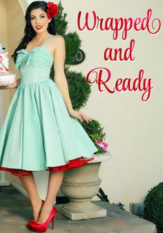 Unique Vintage Green Seeing Stripes 1950's Swing Dress with Bow #swingdress #holidaydress $110