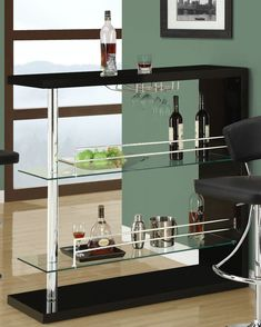 Coaster Bar Table With Two Glass Shelves Drinks Furniture Wine Display Storage