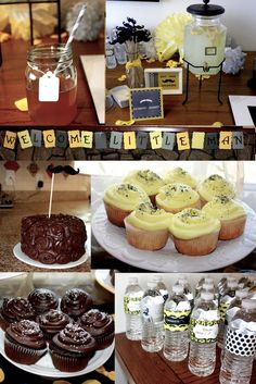 Little Man Baby Shower idea! Love the chocolate cake and cupcakes!