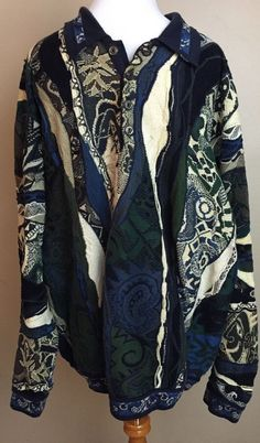 COOGI Blue Green Paisley Cobra 3D Men's XL Polo Sweater #COOGI #Crewneck